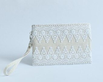 "7"" Wedding Clutch with Lace Bridesmaids Clutch Natural Linen  Wristlet Small Pouch"