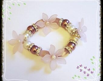 Elegant, sophisticated & glamorous ladies elasticated bracelet/ Pinks/Purples/Diamanties/Flowers free shipping