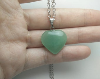 Jade heart pendant necklace