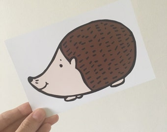 "Hedgehog Illustration 6x4"" Print"