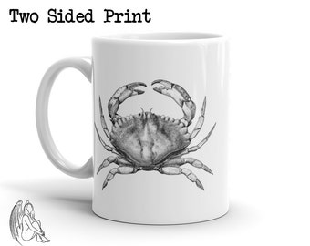 Crab Coffee Mug, Urban, Animal, Animals, Nautical, Sea, Vintage, Hipster, Cute Gift
