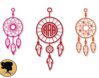 Dream catcher Catcher Monogram SVG / indian Dreamcatcher /feather SVG files for Silhouette Cameo or Cricut, vector, svg dxf eps, jpg,png