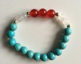Turquoise, Red Jade, White Agate Bracelet