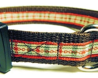 Medium Christmas Plaid Dog Collar