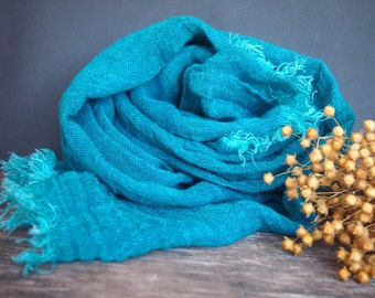 Linen Emerald, Green Scarf, Women Accessories, Linen Gift