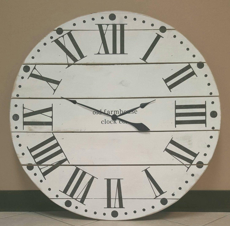 36 farmhouse clock with white finish and Roman numerals