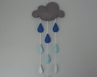MADE TO ORDER - Cloud Mobile. Grey cloud nursery mobile with blue and white raindrops