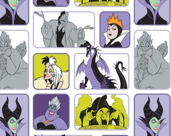 "In stock: NEW Disney Fabric Disney Villains- Wicked Women in White, Disney Villains Female 100% cotton Fabric by the yard 36""x44"" (CA221)"