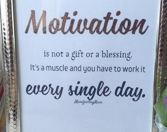 Motivation gold foil print
