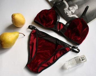 Velvet Lingerie Set - Velour Mesh Lingerie Set and Strappy Panties - Velvet Sheer Bra and Knickers