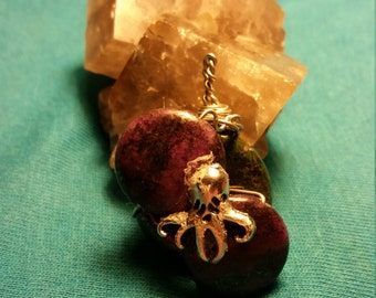 Green and purple copper turquoise octopus pendant