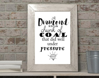 Diamond is a chunk of a coal did well under pressure printable, black and white digital download, minimalist wall decoration, diamond quote
