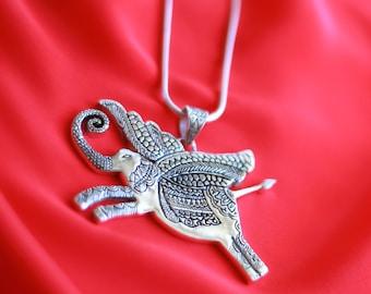 Designer Flying Elephant Sterling Silver Pendant – Airavata