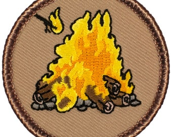 """2"""" Diameter Embroidered Campfire Patch (299)"""