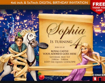 Tangled Invitation, Tangled Birthday Invitation, Rapunzel Invitation, Rapunzel Birthday Invitation, Rapunzel Birthday, Tangled Birthday
