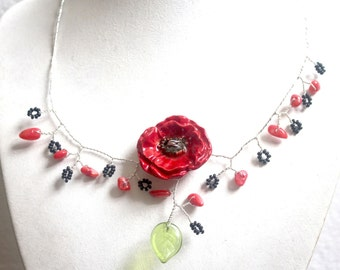 Necklace poppy red wire copper