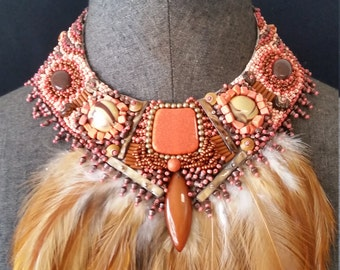 Orange and brown  Feather Necklace