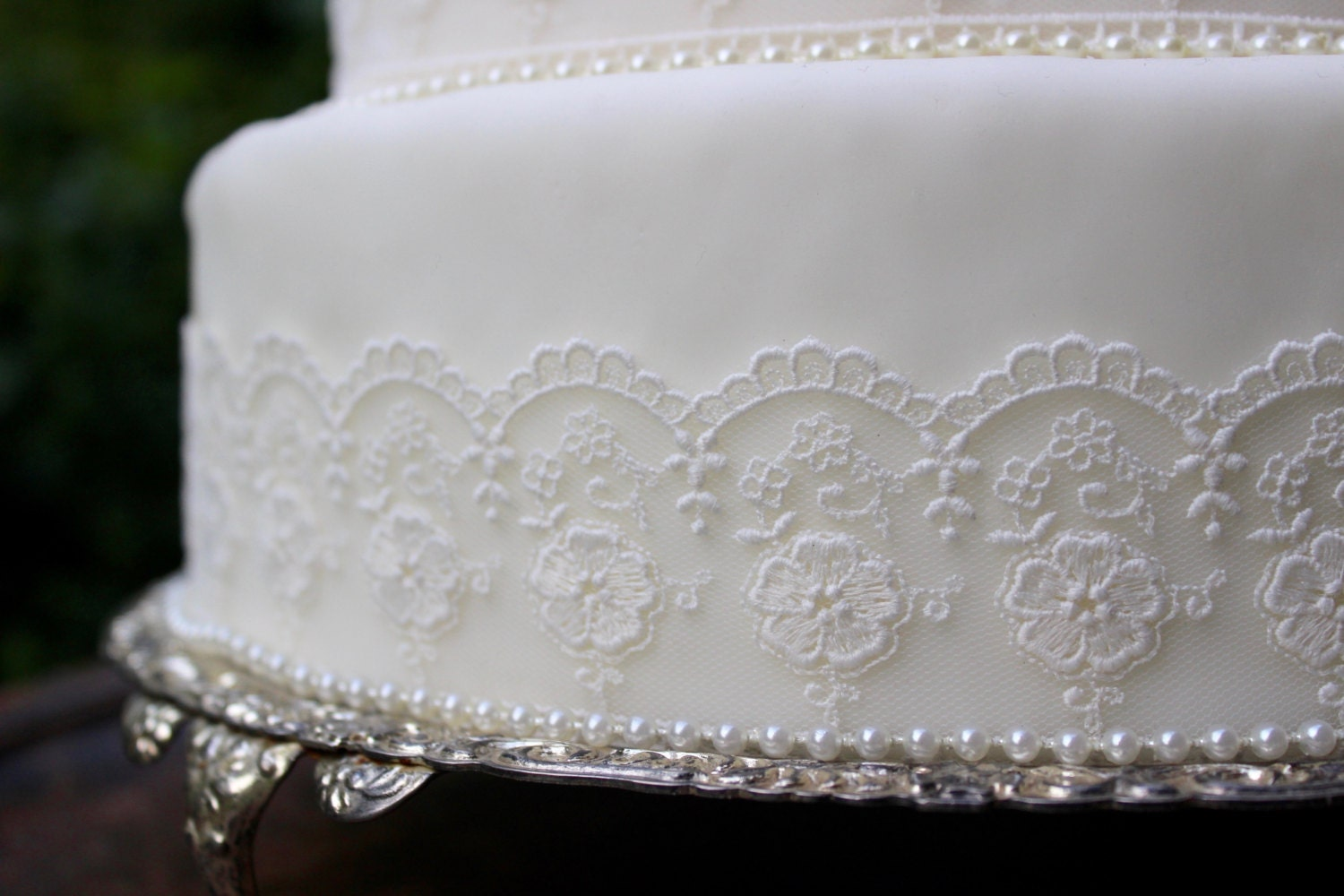 Vintage Ivory Lace & Pearl Wedding Cake Topper Set Pearl