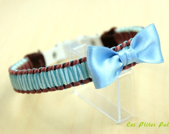 The classic blue and Brown braided leather dog collar
