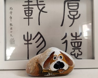 Stone painting Dog