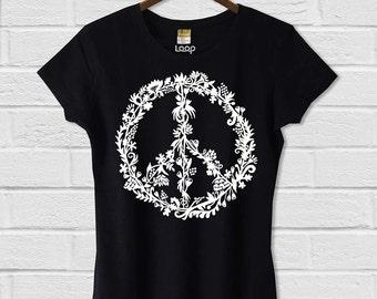 Peace Flowers Hemp/Cotton Tee