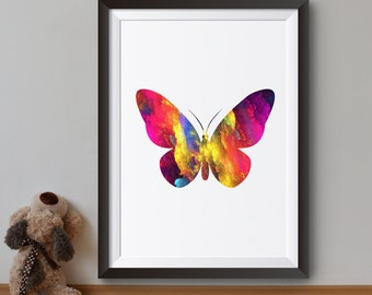 Colorful Butterfly Art Print - Rainbow Colors Poster - Colorful Illustration - Wall Art - Home Decor