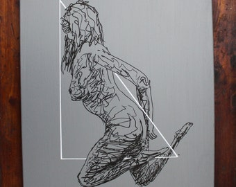 Gesture Drawing of female on grey background