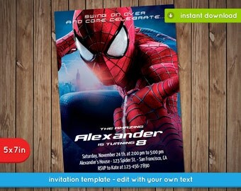 Spiderman Invitation - Printable birthday party invite - INSTANT PDF DOWNLOAD