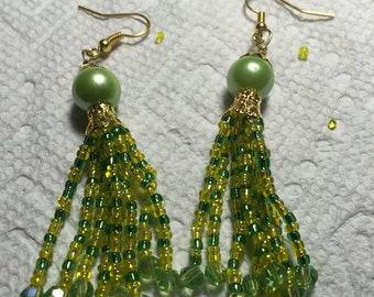 Green with yellow seed beads Earrings