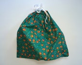 "17""x17"" Cotton Dust Cover for a Purse - turquoise pumpkin print"