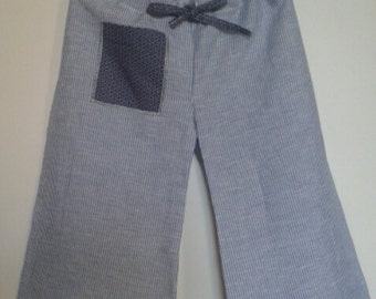 Blue and white striped cotton pants with DrawString waist