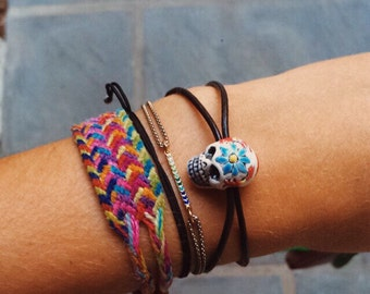 Leather and day of the dead skull bracelet