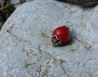 Red Coral, .925 Sterling Silver, Pendant