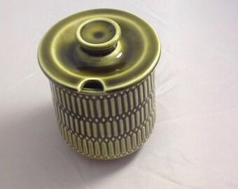 Vintage 1960's Lancastrian Pottery dark green ribbed effect preserve pot