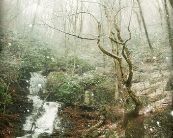 Waterfall Print, First Snow, Fine Art Photography, Nature Photography