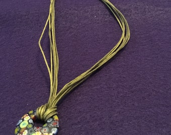 Bohemian pendant necklace, rope jewelry
