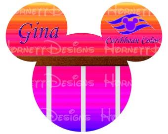 Printable Disney cruise magnet design.  Caribbean Colors personalized