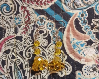 Canary yellow Crystal earrings