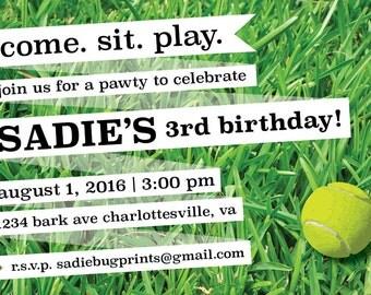 "Dog Birthday Pawty Invitation // Grass Tennis Ball // Postcard or Card // Horizontal // 4""x6"" 5""x7"" // PDF Download"