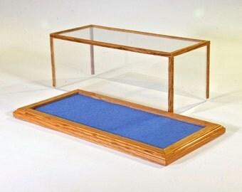 Golden Oak 1/24 Scale Model Car Display Case w/Forest Blue Felt Floor  //Model Display//Gifts for Collectors//Office Decor