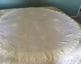 Linen Crocheted Tablecloth