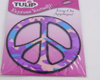 Peace Sign Iron On Applique - Purple Peace Sign - Iron on Peace Symbol - Purple Black and Blue Peace Symbol