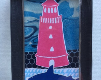 Lighthouse & Shark Collage Paperweight