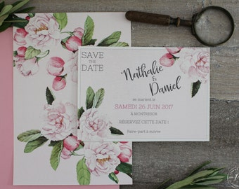 Save the date - Printable wedding save the date - PDF -  Romantique rose,