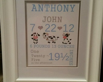 Baby Stats Picture Frame,  nursery sign