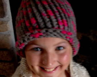 Pink And Gray Kids Hat