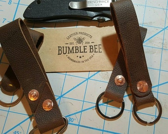 Horween Keychain Brown Leather Double Brass Rivets