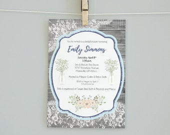 Rustic Chic Bridal Shower Invitation, Baby Shower Invitation, Wedding Invitation ***DIGITAL FILE ONLY***