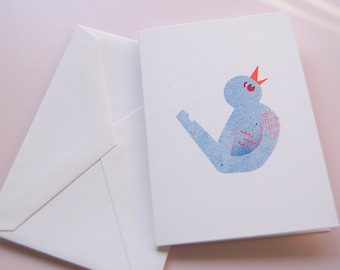 Blue Bird Whistle Greeting Card