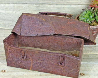 Rusted Lunch Box, Industrial Metal Salvage, Found Object Art, Supplies, Movie Prop, Photography Prop  #5-8
